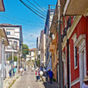 Walking Up Steep Streets In Hilly Valparaiso-chile Poster