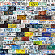 Wall Of American License Plates Poster