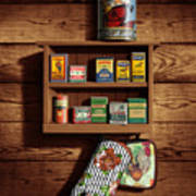 Wall Spice Rack - Americana Kitchen Art Decor - Vintage Spice Cans Tins - Nostalgic Spice Rack Poster