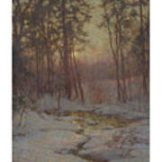 Walter Launt Palmer 1854-1932 Winter Stream At Sunset Poster