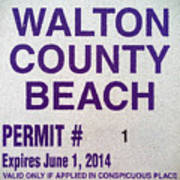 Walton County Beach Permit Poster