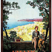 Warazze, Savona, Italy, Woman On Hotel Terrace Poster