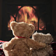 Warm And Cosy Teddies By The Fireside Poster
