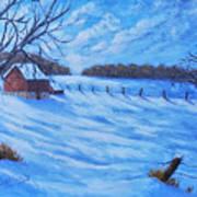 Warm Winter Barn Poster