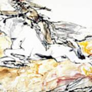 Warrior On White Horse Poster