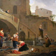 Washerwomen By A Roman Fountain Poster