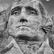 Washington And Setting Moon Bw Poster