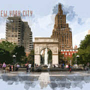 Washington Square Park Greenwich Village With Text New York City Poster