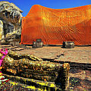 Wat Lokayasutharam Reclining Buddha In Ayutthaya, Thailand Poster