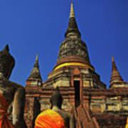 Wat Yai Chai Mongkol In Ayutthaya, Thailand Poster