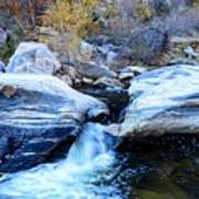 Water Flowing Through Rock Formation In Sabino Canyon II Poster