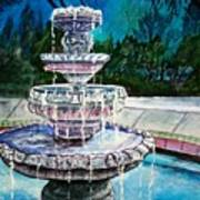 Water Fountain Acrylic Painting Art Print Poster