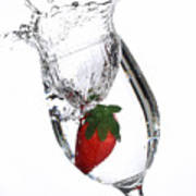 Water Glass Strawberry Poster
