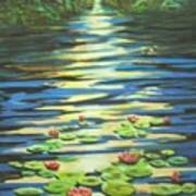 Water Lillies At Dusk Poster
