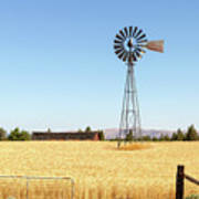 Water Pump Windmill At Wheat Farm In Rural Oregon Poster