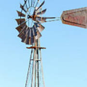 Water Pump Windmill On Blue Sky Background Poster