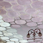 Water Reflection Of Garden Lamps At The Akshardham Temple, Jaipur  Poster