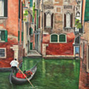 Water Taxi On Venice Side Canal Poster