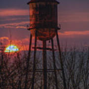 Water Tower Sunset Poster