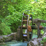 Water Wheel In The Woods Poster