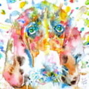 Watercolor Basset Hound Poster