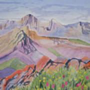 Watercolor - Blanca And Ellingwood Landscape Poster