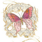 Watercolor Butterfly With Vintage Swirl Scroll Flourishes Poster