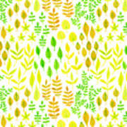 Watercolor Doodle Leaves Pattern White  Poster