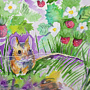 Watercolor - Field Mouse With Wild Strawberries Poster