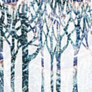 Watercolor Forest Silhouette Winter Poster
