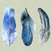 Watercolor Hand Painted Feathers Poster