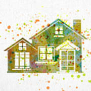 Watercolor Houses Poster