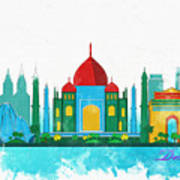 Watercolor Illustration Of Delhi Poster