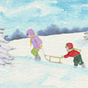 Watercolor Illustration Showing Two Children Pulling Sledge Uphi Poster