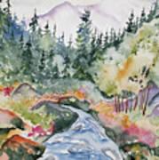 Watercolor - Long's Peak Autumn Landscape Poster