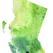 Watercolor Map Of British Columbia, Canada In Green  Poster