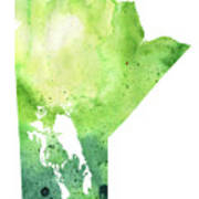 Watercolor Map Of Manitoba, Canada In Green Poster