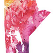 Watercolor Map Of Manitoba, Canada In Orange, Red And Purple  Poster