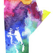 Watercolor Map Of Manitoba, Canada In Rainbow Colors  Poster