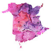 Watercolor Map Of New Brunswick, Canada In Pink And Purple  Poster