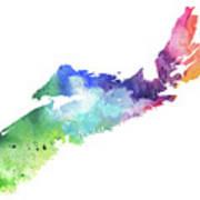 Watercolor Map Of Nova Scotia, Canada In Rainbow Colors  Poster