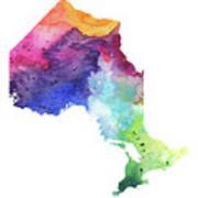 Watercolor Map Of Ontario, Canada In Rainbow Colors  Poster