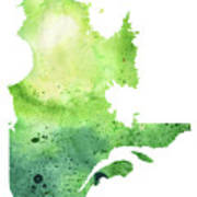 Watercolor Map Of Quebec, Canada In Green  Poster