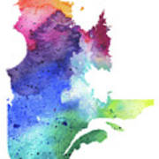 Watercolor Map Of Quebec, Canada In Rainbow Colors  Poster