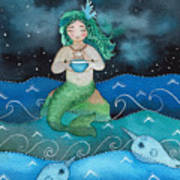 Watercolor Mermaid Feeding Her Narwhals Poster