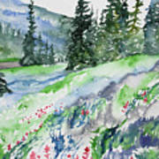 Watercolor - Mountain Pines And Indian Paintbrush Poster