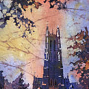 Watercolor Painting Of Duke Chapel On The Duke University Campus Poster
