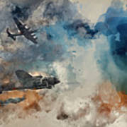 Watercolor Painting Of Flight Formation Of Battle Of Britain World War Two Consisting Of Lancaster B Poster