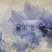 Watercolor Painting Of Landscape Of Victorian Pier With Moody Sk Poster