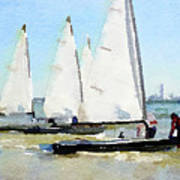 Watercolor Painting Of Small Dinghy Boats Poster